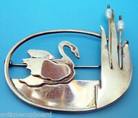 Sterling Hand Wrought Brooch with Swan and Pearls (#J2979)