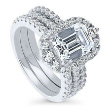 Zirconia Stackable Cushion Ring Sz.8 925 Fine Silver 3.1 Ctw Cubic