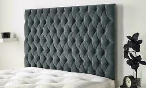 """54"""" inch Tall Floor Standing Lily Design Headboard in Chenille Matching Buttons"""