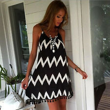 Women Summer Wave Print Tassels Sundress Ladies Backless Slip Beach Dress Kaftan