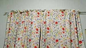 "Ralph Lauren-Georgia Gardens- Floral Drapes Curtains -86"" Long Red Poppies"