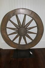 "NWT Pottery Barn Vintage Wagon Wheel On Stand Mango Wood HUGE 34"" UNIQUE $399Rtl"