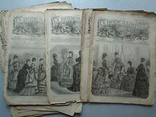 La Mode Illustrée :Lot nombreux numéros années 1876-77 en état moyen (3,9kg)