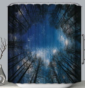 Night Sky Stars Trees Fabric Shower Curtain Looking Up Perspective Nature 70x70
