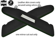 GREEN STITCH 2X SUN VISOR LEATHER COVERS FITS VW T5 TRANSPORTER 1 MIRROR CUTOUT