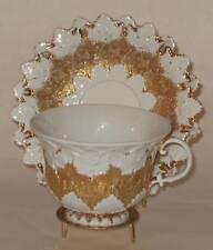 Meissen Cup and Saucer Gilt Decoration Leaf Design