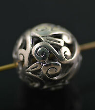 3Pcs Sliver Jewelry Findings Hollow Out Global Roundlle Spacer Beads Charm 18mm