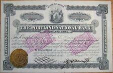 1904 Stock Certificate-Portland National Bank, Maine ME