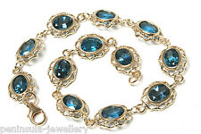 9ct Gold London Blue Topaz Bracelet Gift Boxed Hallmarked Made in UK