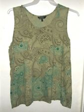 Ulla Popken Green Aqua Brown Floral Sleeveless Tank Top 16/18 16 18