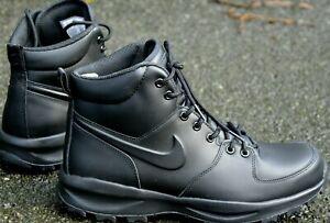 Size 10 Nike Manoa men's black leather walking hiking boots shoes trainers EU 45