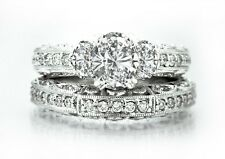 $8300 1.77ctw EGL USA BEAUTY 3 STONE OVAL DIAMOND 14K WHITE GOLD ENG & WED RING