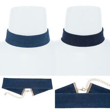 """Women Gothic Wide Band Chic Thick Denim CHOKER Gold Metal Chain NECKLACE 12"""""""