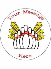 """Novelty Personalised Ten Pin Bowling 7.5"""" Edible Wafer Paper Cake Topper"""
