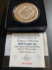 2020 2oz Silver Shield Crypto Series #8 Silver Ag Proof Round w/COA