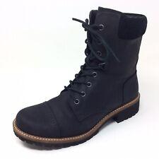 Women's ECCO Black Leather Zipper Side Cap Toe Combat Style Fashion Boots Sz. 8