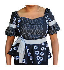 Black, Silver and Off White African Lace Top