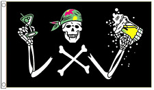 Pirate Jolly Roger Skull and Crossbones Drinks Party 5'x3' Flag