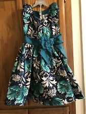 Used Girls Gymboree Teal Black Bow SZ 8 Flower Lined