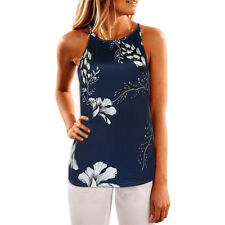 Womens Ladies Sleeveless Vest Tank Tops Summer Beach Floral Blouse Loose T Shirt Dark Blue XL