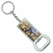 Old Paris France Eiffel Tower Rectangle Metal Bottle Opener Keychain