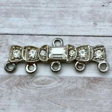 4 Vintage Silver Color Plated Rhinestone Chandelier Earring Connectors (RHP9)