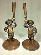 """Antique French Pair of Bronze Figural """"Court Pages"""" Torch Holders Candle Holders"""