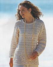 "Ladies Crochet Pattern Longer Length Tunic Top  32-40"" Double Knit"