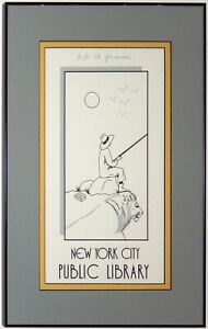 BB LA FEMME Lithograph Print NEW YORK City Library Art Deco Style Custom Framed