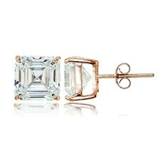 Rose Gold Tone over Sterling Silver Cubic Zirconia Asscher Cut Stud Earrings