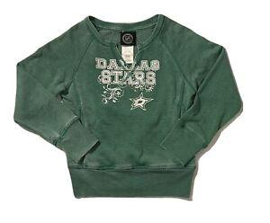 New NHL Dallas Stars Girls Green Glitter Logo Sweatshirt (Size S 6/6X)