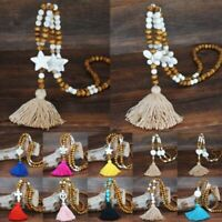 Long Tassel Pendant Sweater Women Turquoise Beads Necklace Chain Jewelry A+++ AU