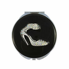 Compact Mirror, Shoe Design with Enamel and Swarovski Crystal & Leather Pouch