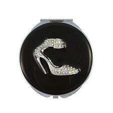 Espejo Compacto, Diseño De Zapatos Con Esmalte Y Cristal De Swarovski Y Bolsa De Cuero