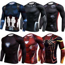 Superhero Iorn Man 3D Marvel Avengers Panther Compression GYM T-shirt Fitness