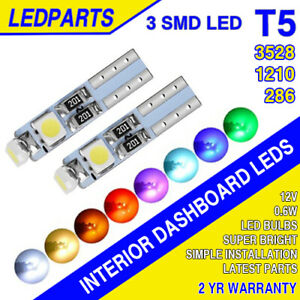 T5 LED DASHBOARD CLOCK WEDGE BULBS 3528 286 T5 74 CAPLESS 5MM CANBUS ERROR FREE