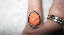ANTIQUE VICTORIAN CARVED RED CORAL MARCASITE STERLING SILVER CAMEO RING SZ 6.5