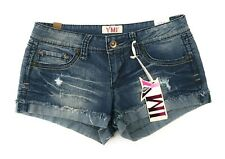 YMI Womens Jr Jean Shorts Sz 5 Distressed Short Blue Embroidered Booty Shorts