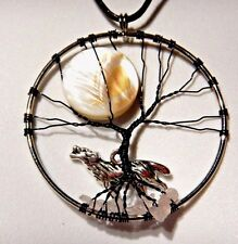 SILVER WOLF AND TREE WRAPPED WIRE NECKLACE full moon werewolf night pendant C3