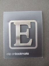 BOOKMARK Letter Initial E Alphabet Steel Clip On Gift Present Birthday Thankyou