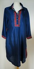 BIBA Navy Blue Multi Coloured Trimmed Tunic Top 36 (12) Vintage Retro