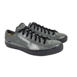 Converse Wingtip Patent Leather Sneakers Mens Size 11.5 Shoes Gray Black Rare