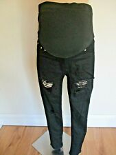 BOOHOO MATERNITY OVER BUMP BLACK RIPPED SKINNY JEANS SIZE 10 NEW