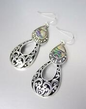 CLASSIC Designer Style Silver Black Filigree Mother Pearl Shell Dangle Earrings