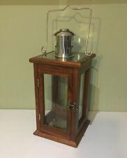 John Lewis Wooden Candle Lantern Glass Chrome Handle Excellent Condition
