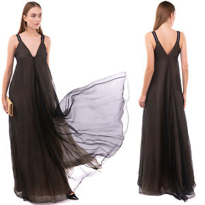 RRP €4645 BRUNELLO CUCINELLI Silk Flare Gown Size S Monili Beads Made in Italy