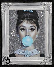 Audrey Hepburn Brillo Cuadro Lienzo plata Shabby Chic Marco, Pared Arte.