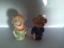 VINTAGE WHIMSICAL OLD MAN AND WOMAN SALT AND PEPPER SHAKERS EARLY JAPAN