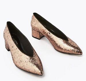 Marks & Spencer Gold Glitter Block Heel Pointed Party Shoes UK 4.5 Eur 37.5