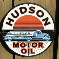 VINTAGE HUDSON MOTOR OIL PORCELAIN METAL SIGN USA OCTANE GAS PUMP PLATE STATION